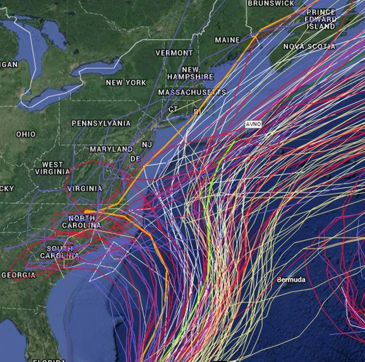 Image of Spaghetti model from Mike's Weather Page