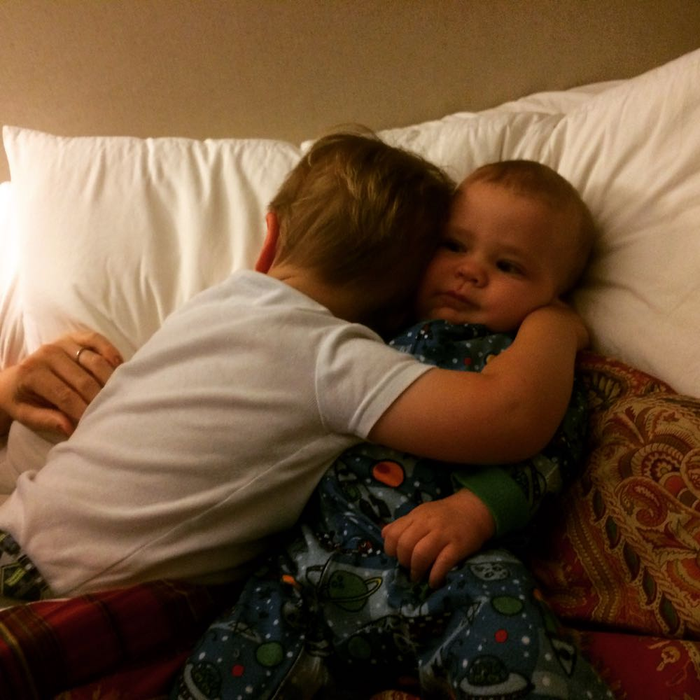 Q hugs Gabe
