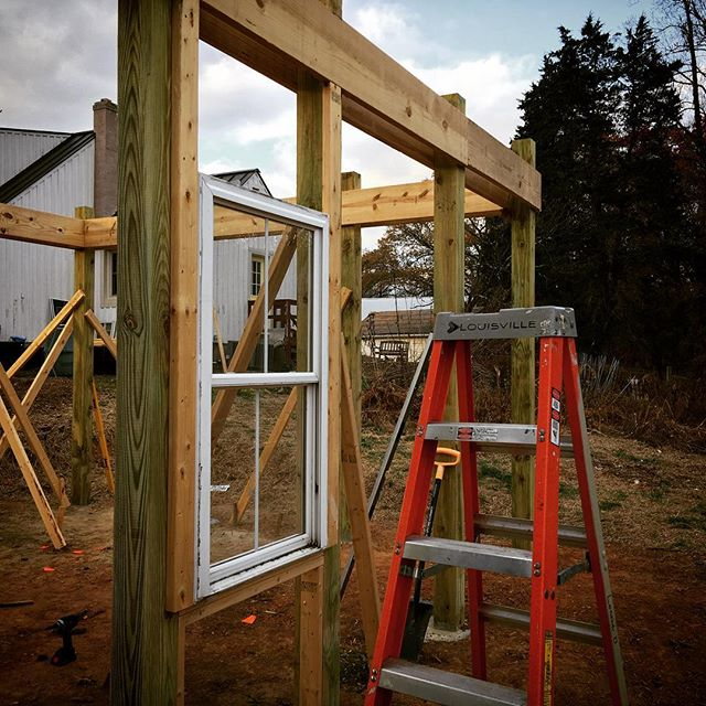 The first window is in the framed wall!